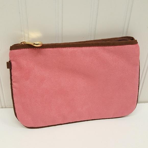 Hilary London Handbags - Hilary London Suede clutch makeup purse  PINK